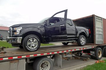 New Ford F-150 Supercrew loading to container in North America